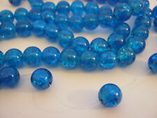 "40 Electric Blue Crackle Beads 10mm (3/8"") Large  Glass Jewellery Making Beads"