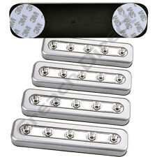 4 X SILVER 5 LED STRIP PUSH LIGHTS 3M STICKERS BATTERY STICK ON KITCHEN CUPBOARD