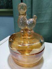 Vintage French Poodle Jeanette iridescent orange Glass Powder Bowl/Trinket Box