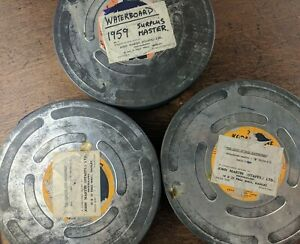 3 Large Mid Century Film Canisters Containing Reels Of 16mm Film and Paperwork