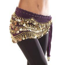 Velvet Danza Del Vientre Hip Bufanda moneda y del grano Cinturón Envolvente vendedor del Reino Unido