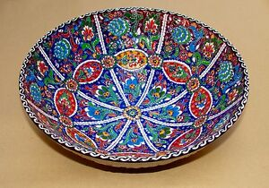 Handmade Beautiful Multicolour 30CM Home Decor Embossed Ceramic Bowl - L@@K