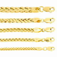 """10K Yellow Gold 2.5mm-5mm Round Wheat Palm Franco Foxtail Chain Necklace 16 -30"""""""
