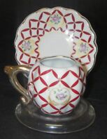 Vintage Demitasse Porcelain Cup & Saucer Gold Trim Handpainted red rhombus.