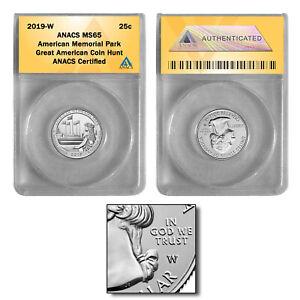 2019 W American Memorial National Park Quarter MS65 GREAT AMERICAN COIN HUNT