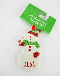 "ALBA Personalized Name Holiday Ornament Snowman Xmas Target Ganz 3"" Ceramic"