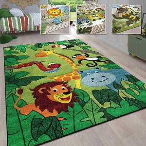 Kinderzimmer Kinderteppich für Jungen mit Tier u. Dschungel Motiven Kurzflor