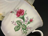 VINTAGE CUP & SAUCER. ROSE SWIRL DESIGN FLORAL PATTERN GREEN LEAVES GOLD TRIM