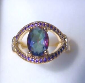 "GORGEOUS MYSTIC TOPAZ/ AMETHYST GOLD PLATEDRING UK Size ""T"" US 10.5"