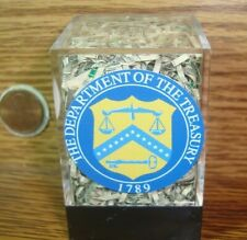 USA Department of TREASURY Shredded Currency CASH Money in Acrylic Display Cube