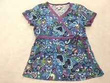 Koi S Small Kathryn Blue Purple Heart Vine Side Tie Scrub Top Uniform Shirt