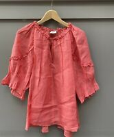 Aritzia Wilfred Womens Size Large Coral Pink Shirt Keyhole Neck Top Linen Blouse