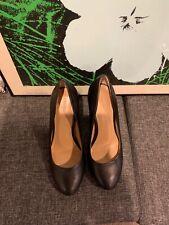 Women Banana Republic Black Heels Pumps Shoes 6M Slip On Round Toe Leather