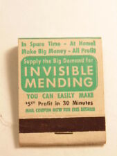 Old advertising match book:Invisible Mending product and business opportunity ad