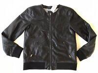Guess Men's Black Faux Leather Elegant Jacket Back Zip Pocket Size M