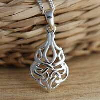 Solid 925 Sterling Silver Celtic Knot Pendant Charm Celtic Chain Jewellery