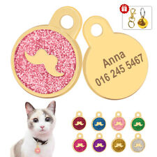 Glitter Personalized Cat Dog ID Tags Custom Engraved Pet Name Discs Round Gold