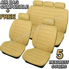 Beige Cream Quilted Luxury Leather Look Airbag OK Car Seat Covers Full Set +Free