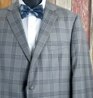 Current 2019 Hart Schaffner Marx Wool Gray Plaid Sport Coat Jacket 48 Regular