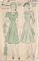 "1940s Vintage Sewing Pattern DRESS B36"" (69)"