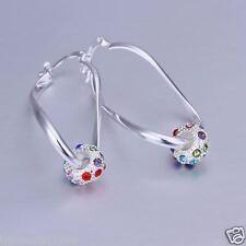 Boucles d'oreilles branché plaqué Argent 925+ cristal multicolores