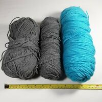 Yarn Mixed Lot Just Under a Pound Gray and Aqua Blue