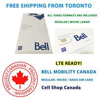 Bell SIM Card - Multi-Format 3 IN 1 SIM - Nano | Micro | Regular | 4G LTE