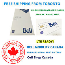 Bell Mobility SIM Card - NEW Multi Format SIM - PACK OF 10 SIM CARDS