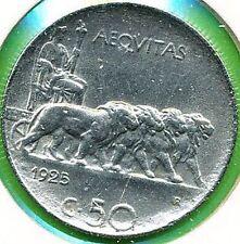 1925 VITTORIO EMANUELE III 50 CENTESIMI RIGATO ROMA CC SPL-