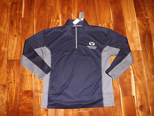 NWT Mens Knights Apparel 1/4 Zip BYU Brigham Young Navy Gray Pullover Sz M