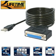 Sabrent AZ-DB25F USB 2.0 To DB25 IEEE-1284 Parallel Printer Cable [HEXNUT] Color