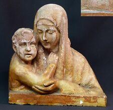 jolie statuette ancienne sculpture vierge à l'enfant 22cm1.2kg signée NORMAND