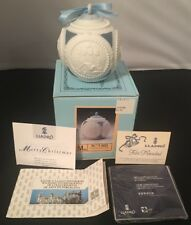 Lladro Bola Navidad Christmas Ornament in Box 1603 Dated 1988 Blue/White Ball