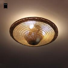 Bamboo Wicker Rattan Hat Ceiling Light Fixture Vintage Rustic Lamp E27 E26 Bulb