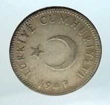 1947 TURKEY Crescent Moon & Star Genuine Silver Islamic 1 Lira Coin i75464