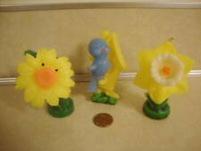 Vtg Gurley Easter Candles Blue Bird House Daffodil Flowers Clean Amazing Nice!