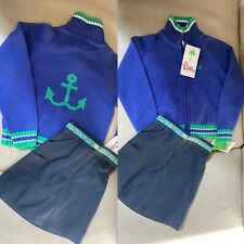 NWT Lilly Pulitzer Size 5 Girls Nautical Anchor Zip Sweater cardigan Skirt set