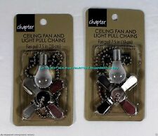 2 < Silver NICKEL Sets 2 pc CEILING FAN & LIGHT BULB PULL CHAIN Set Ships Today!