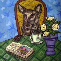 scottish terrier dog coffee PRINT on ceramic TILE coaster gift folk art JSCHMETZ