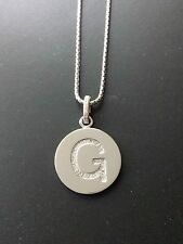 """Brand New Diamond """"G"""" Initial Pendant, Sterling Silver (.10 CT. T.W.)"""