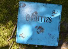 Creepy old ODDITIES blue wooden worn box OOAK Halloween Wicca
