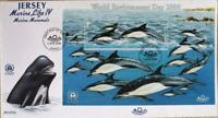 """Jersey Stamps: """"Marine Life IV - Marine Mammals"""" £1.50 M/S First Day Cover 2000"""