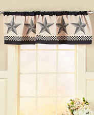 Primitive Country  Barn Star Window Valance Checkered Black Valance
