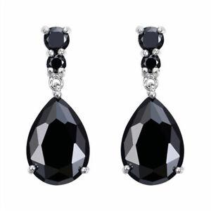 Fashion Shine Silver Luxury Women'S Black Zircon Stud Drop Hoop Earrings Gift
