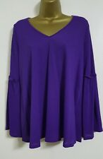 NEW Plus Size 14-32 Purple Fluted Sleeve Tunic Top Blouse Smart Casual Evening