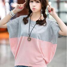Korean Fashion Womens Simple Loose T-Shirt Summer Short Blouse Tops Size