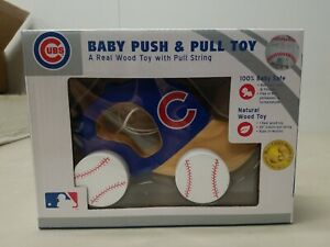 Chicago Cubs Baseball Baby Push & Pull Toys WOOD TOY NEW IN BOX
