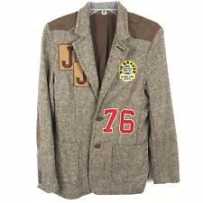 Jack & Jones Denim Gray Brown w/ patches Wool Blend blazer Jacket Men sz Small