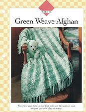 Soft GREEN WEAVE Afghan Crochet Single Pattern Vanna White