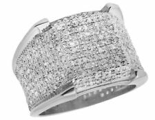 Men's 10k White Gold Iced Real Diamond 3d Eternity Pinky 4 Prong Ring 1.50ct